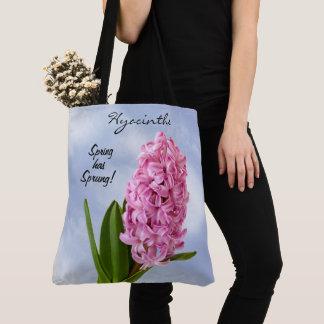 Bolso De Tela Fotografía floral de los jacintos rosados de la