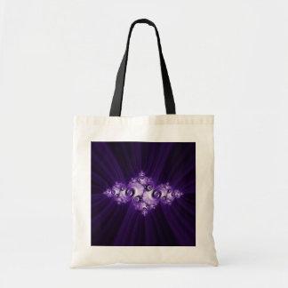 Bolso De Tela Fractal blanco en fondo púrpura