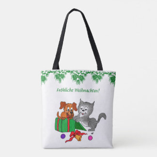 Bolso De Tela Fröhliche Weihnachten, auf Deutsch de Katze del