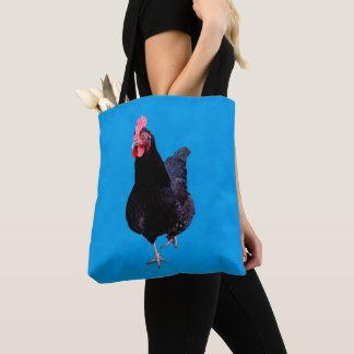 Bolso De Tela Gallo negro en azul,