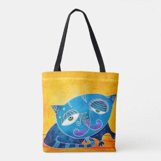 Bolso De Tela Gato azul