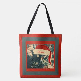 Bolso De Tela Gato del navidad en el casquillo de Santa con