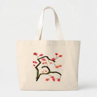 Bolso De Tela Gigante Acento rojo de las flores de cerezo