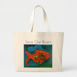 Bolso De Tela Gigante ahorre nuestros ríos, vaya verde, pescado, arte