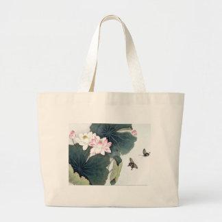 Bolso De Tela Gigante Arte asiático de la mariposa de la flor del rosa