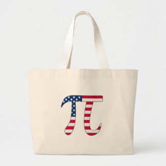 Bolso De Tela Gigante Bandera americana del día del pi, símbolo del pi