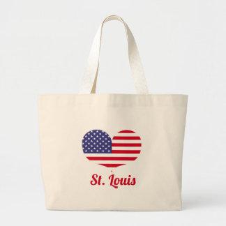 Bolso De Tela Gigante Bandera americana en forma de corazón de St. Louis