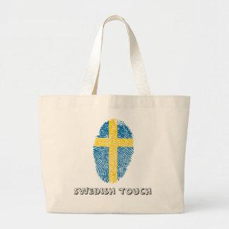 Bolso De Tela Gigante Bandera de la huella dactilar del tacto del sueco