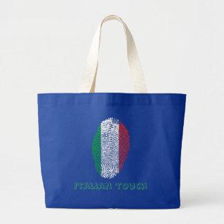 Bolso De Tela Gigante Bandera italiana de la huella dactilar del tacto