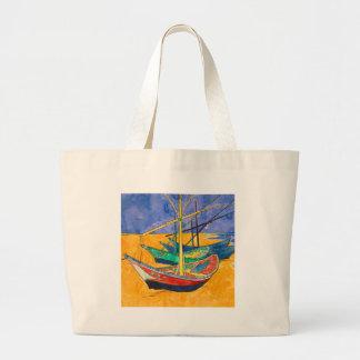 Bolso De Tela Gigante Barcos del impresionista de Van Gogh
