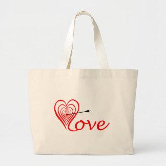 Bolso De Tela Gigante Corazón amor blanco con flecha