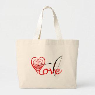 Bolso De Tela Gigante Corazón amor blanco con flecha y arco
