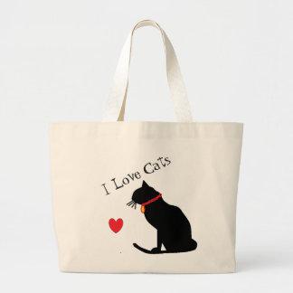 Bolso De Tela Gigante Corazón rojo de los gatos del amor del jumbo I y
