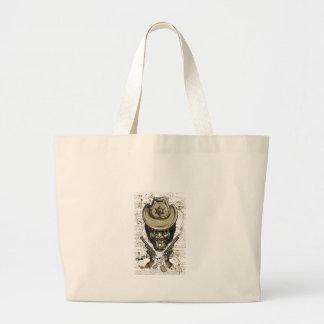 Bolso De Tela Gigante cráneo del vaquero del mono con los armas gemelos