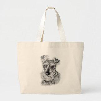 Bolso De Tela Gigante Dibujo del arte del perro del Schnauzer
