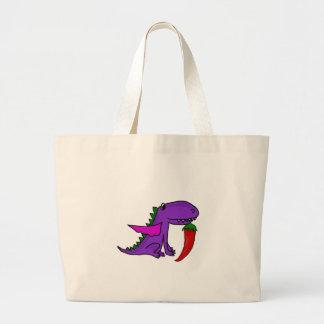 Bolso De Tela Gigante Dragón púrpura divertido que come el dibujo