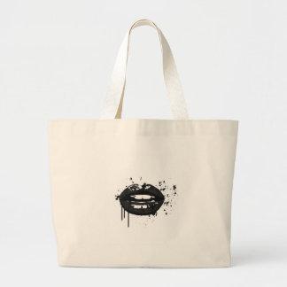Bolso De Tela Gigante Ejemplo blanco y negro de los labios del encanto