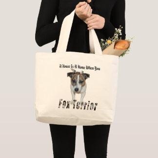 Bolso De Tela Gigante El fox terrier y una casa es un logotipo casero,