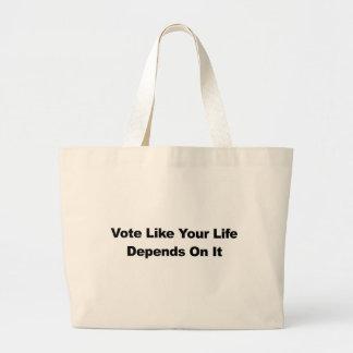 Bolso De Tela Gigante El voto como su vida depende de él