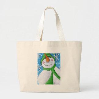 Bolso De Tela Gigante Escarchado el muñeco de nieve feliz