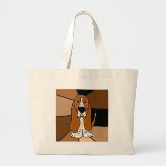 Bolso De Tela Gigante Extracto adorable del arte del perro de Basset
