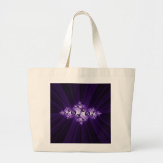 Bolso De Tela Gigante Fractal blanco en fondo púrpura