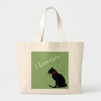 Bolso De Tela Gigante Gatos del amor del jumbo I verdes y tote gráfico