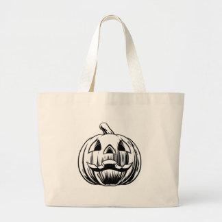 Bolso De Tela Gigante Ilustracion de la calabaza de Halloween
