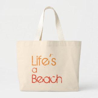 Bolso De Tela Gigante La vida es un tote de la playa de la lona de la