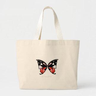 Bolso De Tela Gigante mariposa del rojo del higo 4 por los fernandes