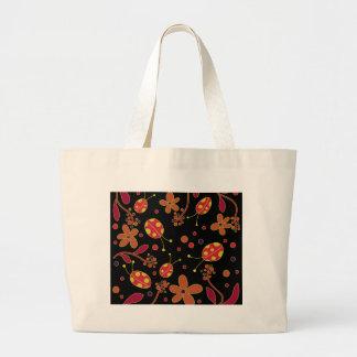 Bolso De Tela Gigante Mariquitas y flores 2
