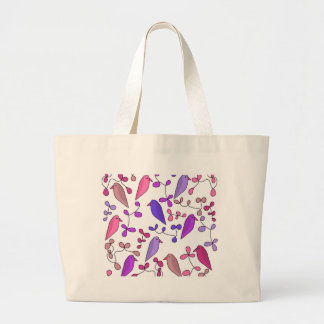 Bolso De Tela Gigante Pájaros y flores - rosa