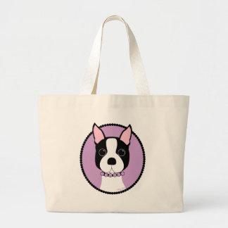 Bolso De Tela Gigante Púrpura de Boston Terrier