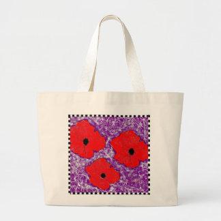 Bolso De Tela Gigante Púrpura y flower power realmente rojo de la