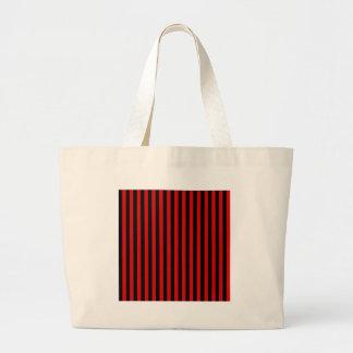 Bolso De Tela Gigante Rayas finas - negro y Rosso Corsa