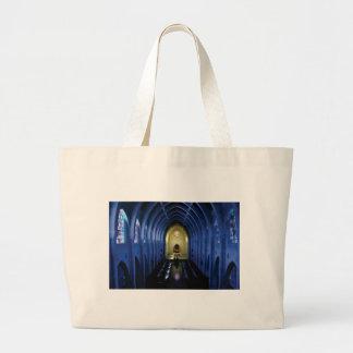 Bolso De Tela Gigante sombras de la iglesia azul marino