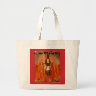 Bolso De Tela Gigante Su esperanza dentro del arte de las llamas
