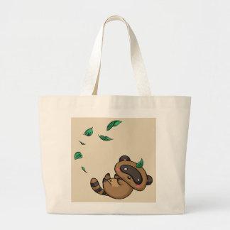 Bolso De Tela Gigante Tanuki y hojas