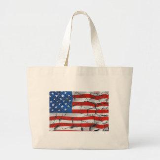 Bolso De Tela Gigante Tote agrietado de la bandera americana