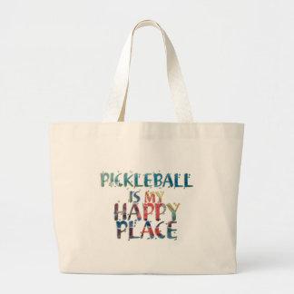 Bolso De Tela Gigante Tote feliz del lugar de Pickleball