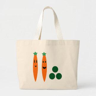 Bolso De Tela Gigante Zanahorias y guisantes