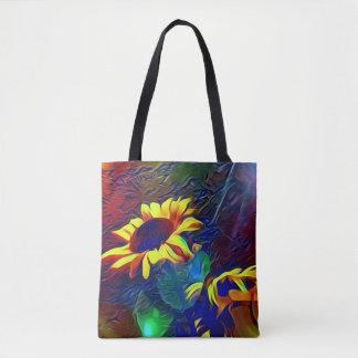 Bolso De Tela Girasoles artísticos vibrantes bonitos