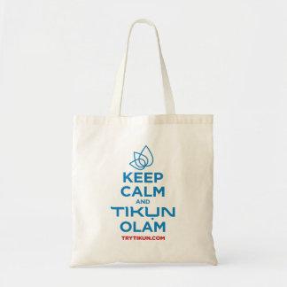 Bolso De Tela Guarde la calma y el tote de Tikun Olam