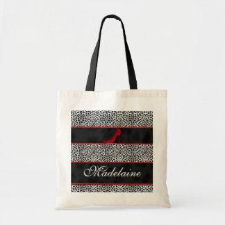 Bolso De Tela Guepardo de plata y negro con personalizado rojo