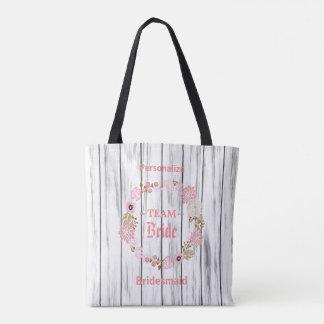 Bolso De Tela Guirnalda floral de color rosa oscuro del boda de