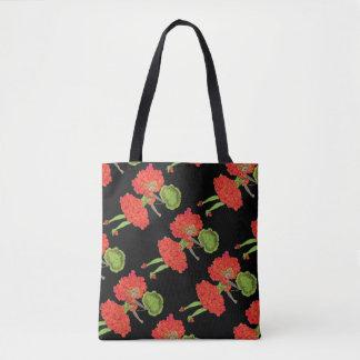 Bolso De Tela Hada roja de la flor del vintage todo encima -