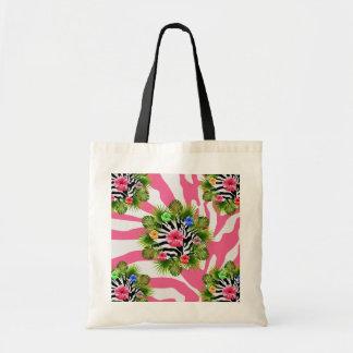 Bolso De Tela Hibisco tropical y rayas rosadas exóticas de la