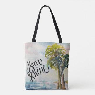 Bolso De Tela Hojas tropicales de las palmeras del océano de la