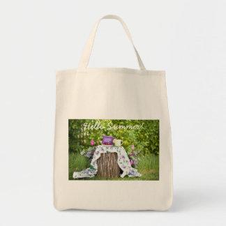 Bolso De Tela Hola té y ciruelos del verano en el jardín