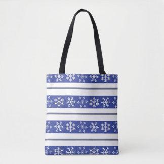 Bolso De Tela #HolidayZ azul y blanco del tote del copo de nieve